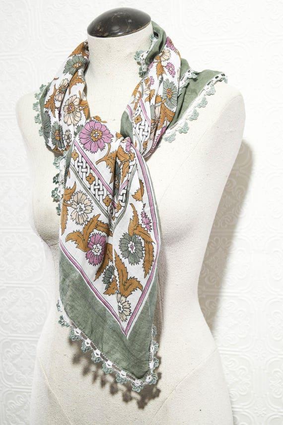 Vintage Turkish Scarf Tapestry Tablecloth Linen Gr