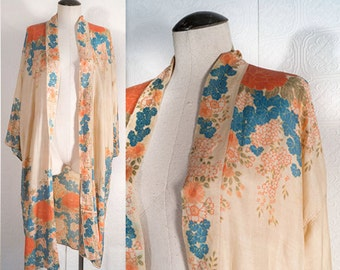 Antique Silk Robe Asian Floral Art Deco Flapper Mid Length One Size 1920s