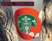 Starbucks Fox Coffee SVG Instant Download Starbucks Cold Cup Fox Gift Animals and Starbucks Cute Fox SVG