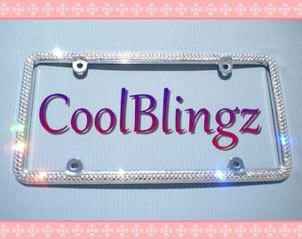 2 PCS Bling 7 Rows PINK Crystal Diamond Metal License Plate Frame Free Caps