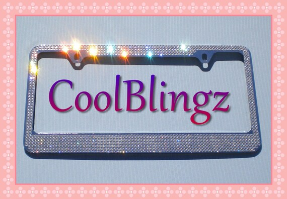 8 Row CRYSTAL Rhinestone Bling License Plate Frame made w// Swarovski Elements