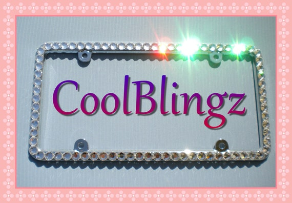 Thin AMETHYST PURPLE Crystal Rhinestone License Plate Frame Bling Screw Cap