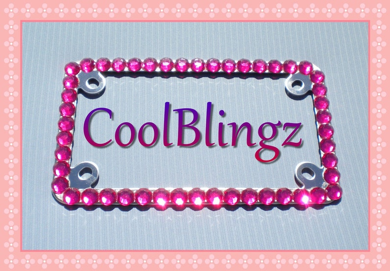 Front and Back NEW! 2 Pink Diamond Crystal Rhinestone License Plate Frames