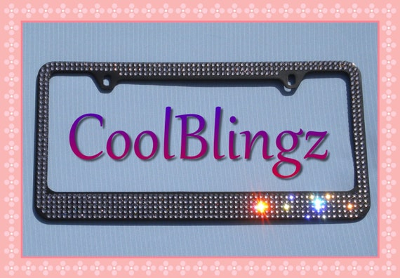 SUPER BLING CRYSTAL License Plate Frame Screw Caps made w// Swarovski Elements
