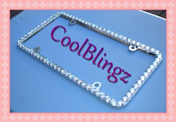 Screw Caps BIG CRYSTAL AB Rhinestone License Plate Frame Diamond Sparkle Bling