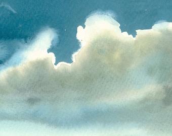 Thunder Clouds Artwork Fine Art Print from Original Watercolor Study
