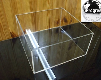4 mm thk Lidless Open 5 Sided Square Cube Clear Acrylic Box