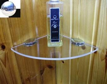 Shower Bathroom Wall Clear Transparent Corner Acrylic Shelf 19 cm X 19 cm