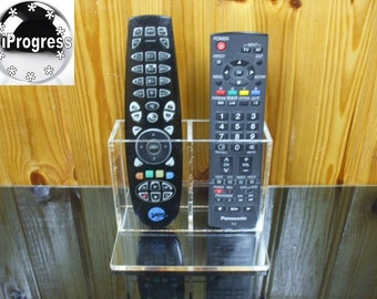Desk Table Double Holder Stand Display for Two TV Cable Receiver Remote Controls