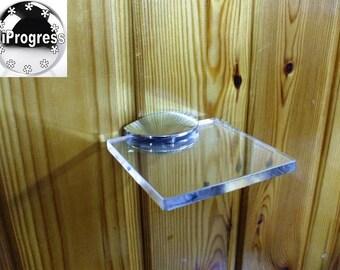 Wall Clear Acrylic Plexi-Glass Square Shelf With One Bracket