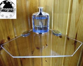 Shower Bathroom Kitchen Wall Clear Transparent Corner Acrylic Shelf 25 cm X 25 cm