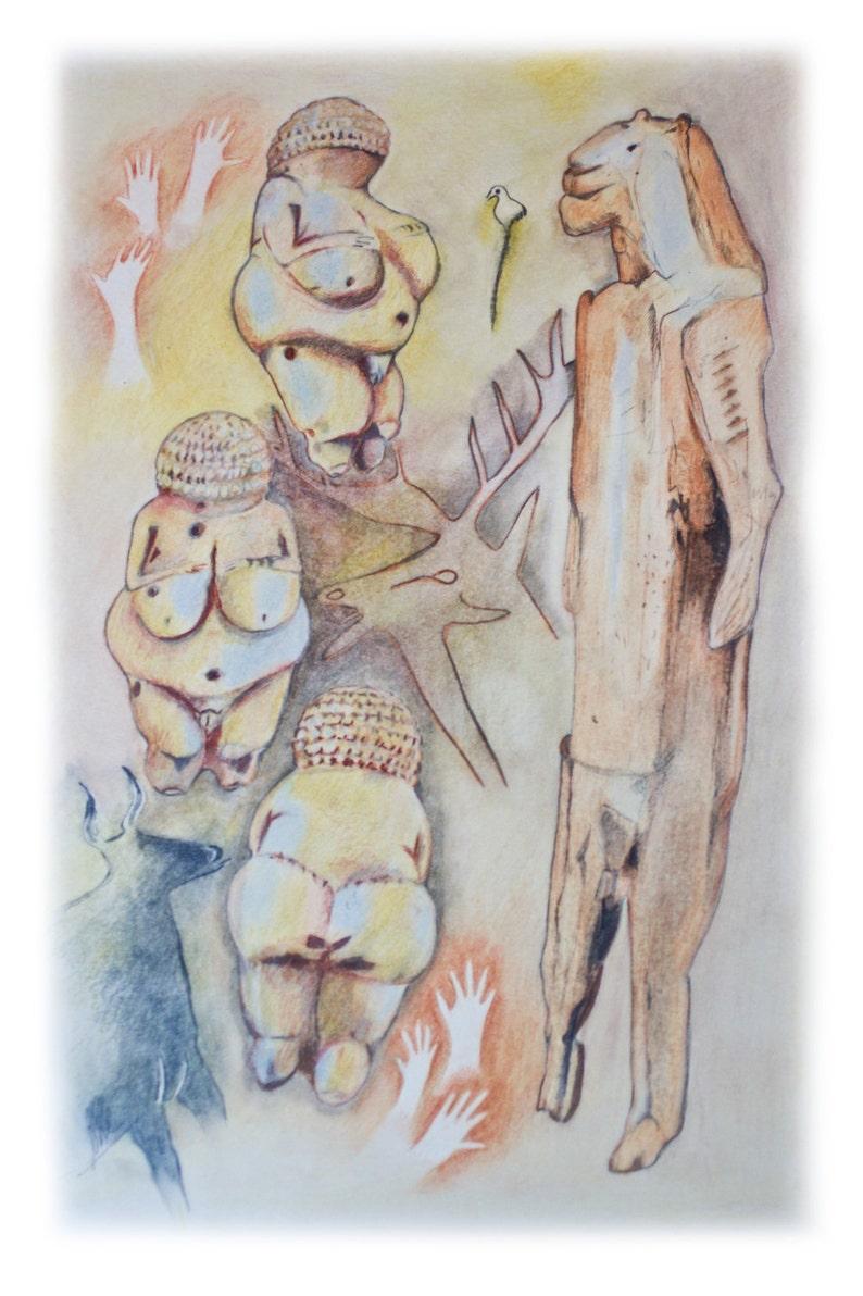 ORIGINAL ART drawing of Lascaux Art  Prehistoric Shaman image 0