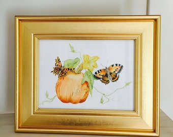 Framed Pumpkin Print with Autumn Butterflies, an elegant gift for Halloween or Thanksgivings. Perfect, Elegant and Highly Detailed Gift.