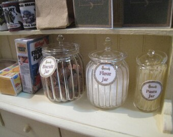 30 % Sale. DOLLHOUSE RIBBED JARS