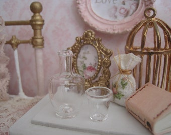 1/12 DOLLHOUSE Bedside Water Carafe & Glass