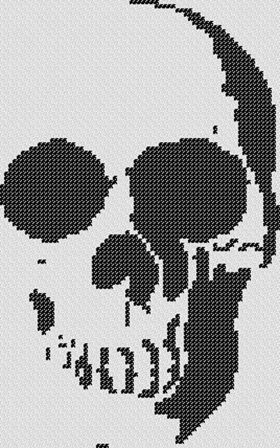 PATRÓN: Punto de Cruz de Halloween calavera | Etsy