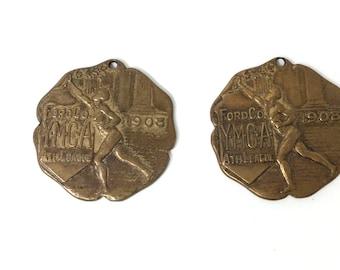 Vintage NCA  YMCA Dist Meet Gold  Swimming Medal Pin Ribbon    dr69