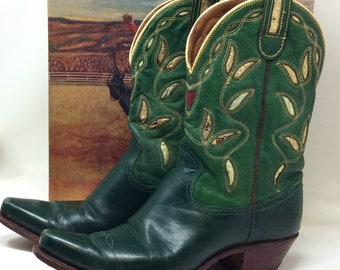 1bab3bf5b15 SALE 140.00 Vintage Acme cowboy boots with box green leather women