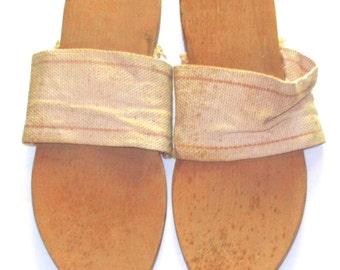 Vintage 40s wood and canvas sandals Klaks WW11