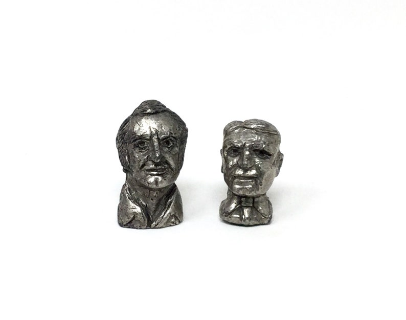 2 vintage cast metal busts heads of men small miniature