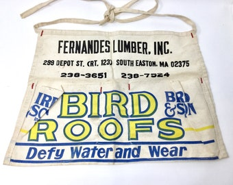 Vintage Bird Roofs canvas work shop half apron lumber Massachusetts