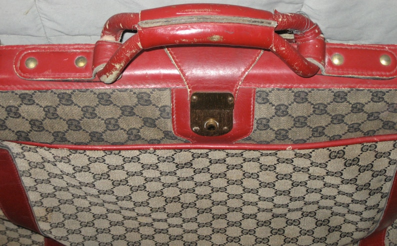86b455549eeb9 Vintage Gucci suitcase luggage large size bag monogram as is condition