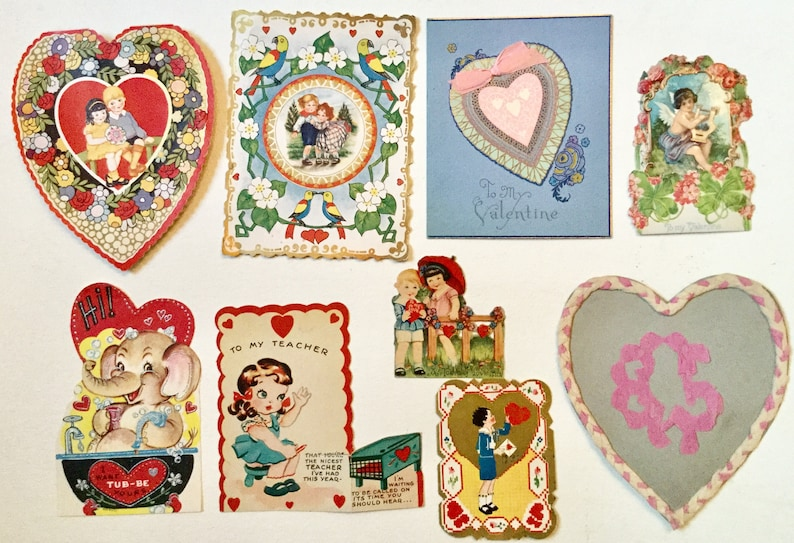 Lot of vintage Valentine cards as is condition re purpose image 0