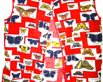 Vintage apron top butterfly print cotton fabric