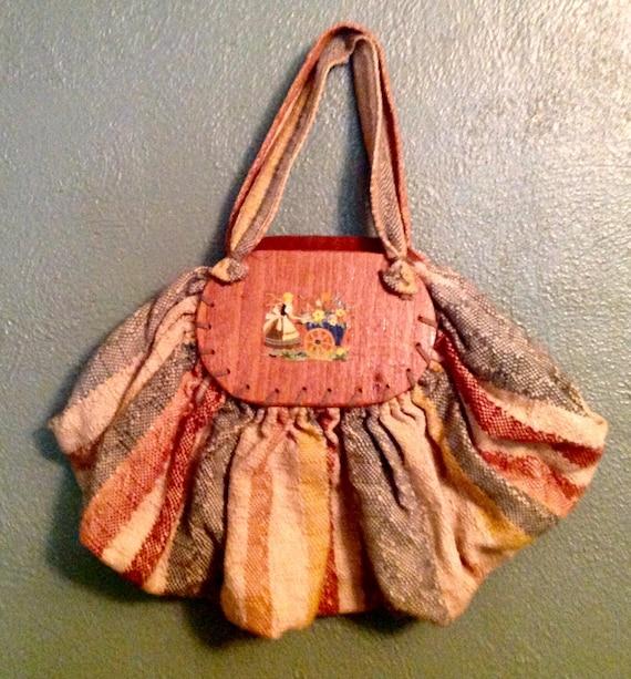 Vintage woven fabric and wood handbag purse 40s de