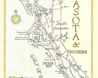 Siesta Key Florida Gifts Fisherman Gift Map Art Lake House Decor Florida Water Map Of Florida Round Or Square Coasters