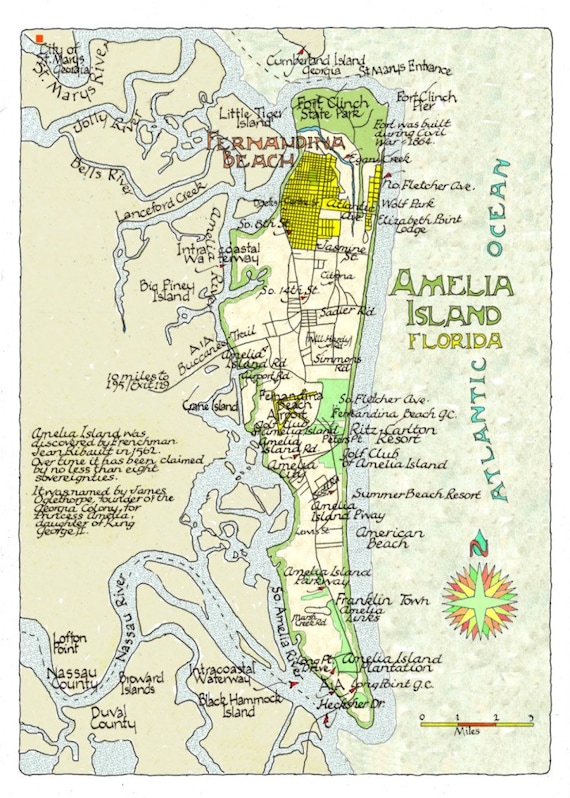 Where Is Amelia Island Florida On The Map.Amelia Island Florida Magnet In Two Sizes Etsy