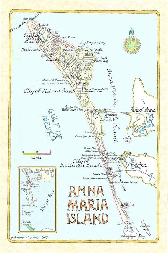 Anna Maria Island Florida Map.Anna Maria Island Florida In Two Sizes Etsy