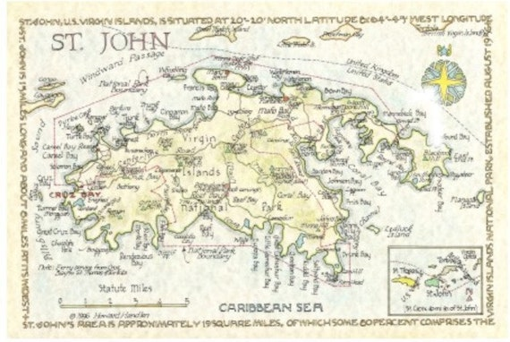St. John, US Virgin Islands Map in Two Sizes