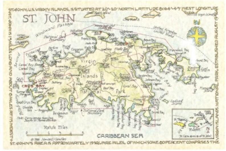St John Us Virgin Islands Map In Two Sizes Etsy - Map-of-st-john-us-virgin-islands