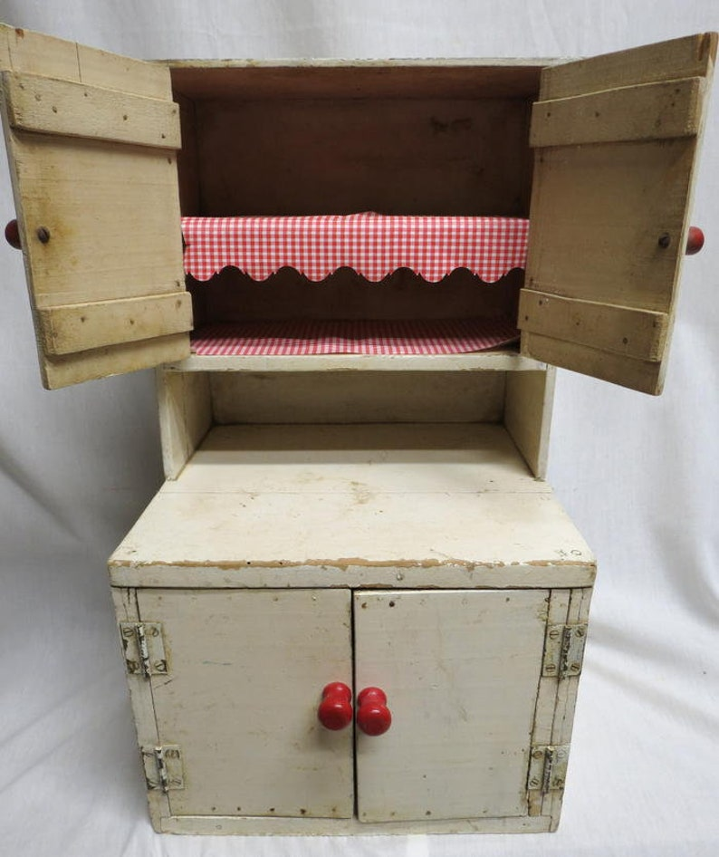 Vintage 1950s Childs Toy Kitchen Hoosier Baking Cabinet Cupboard White  Painted Wooden Play Time Shabby Chic 20 Inches Tall