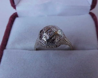 Antique Victorian  2-Tone 14k Gold  Filigree Diamond  Ring,early 1900s