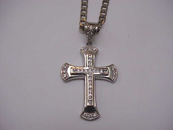 Unique Antique  Huge Cross White 37 CZ Stones 925