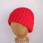 XL Mens Hat, RED, Hand Knit, 100% Wool, Beanie Hat, Watch Cap with Brim, Natural Fiber, Extra Large, Bright Red Wool Hat