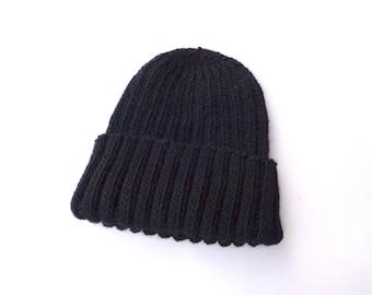 Alpaca Wool Hat Mens size XL, BLACK, Watch Cap Beanie, Hand Knit, Extra Large, Warm Winter Hat