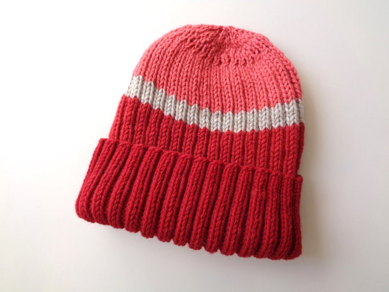 f6c8ff41c43 Warm Wool Hat Hand Knit Watch Cap Bright Red   Tan Toque