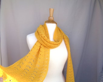 Gold Cashmere Scarf with Scallop Lace Design, Women's Fashion, Golden Yellow, Bold Accessory, Hand Knit Long Scarf
