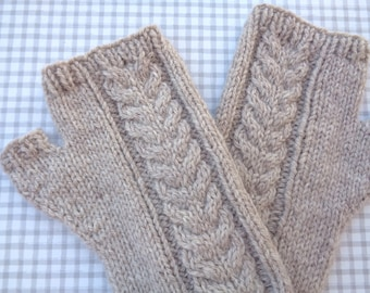 Fingerless Gloves with Cable Design, Natural Oatmeal Brown, Merino Wool, Hand Knit, Wrist Warmer Mitts, Women Teen Girls