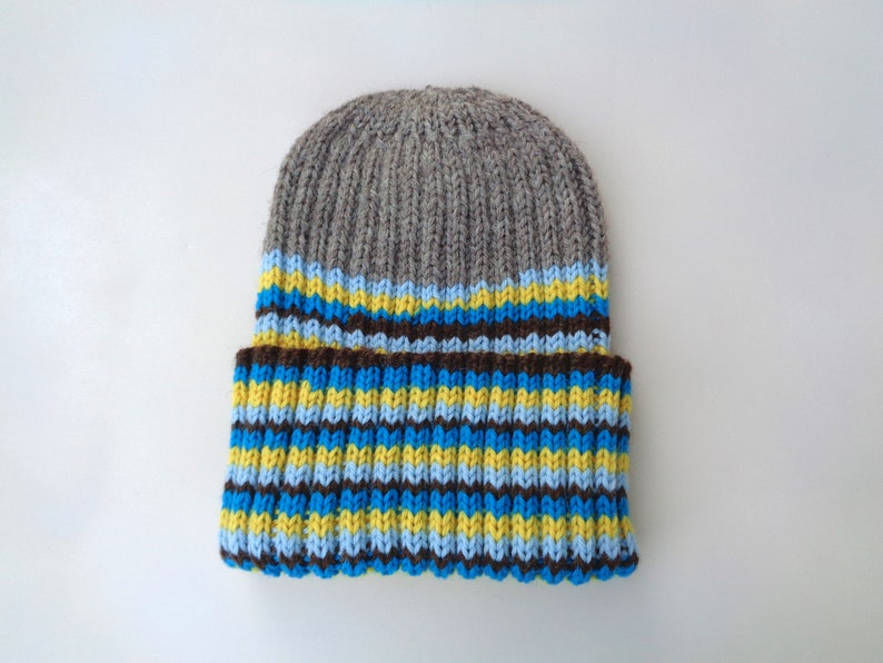 XL Mens Hat Blue Yellow Stripe Hand Knit 100% Wool Beanie image 0