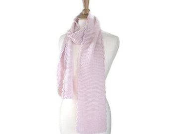 Alpaca Wool Scarf with Scallops, Pale Pink, Hand Knit Natural Fiber, Light Weight Long Wrap Scarf