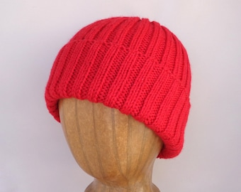 XL Mens Hat, Bright Red, Cashmere Merino Blend, Hand Knit, Beanie Hat, Watch Cap with Brim, Natural Fiber, Extra Large