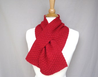 Bright Red Keyhole Scarf in Alpaca Wool, Pull Through Style Men or Women, Hand Knit Neck Warmer