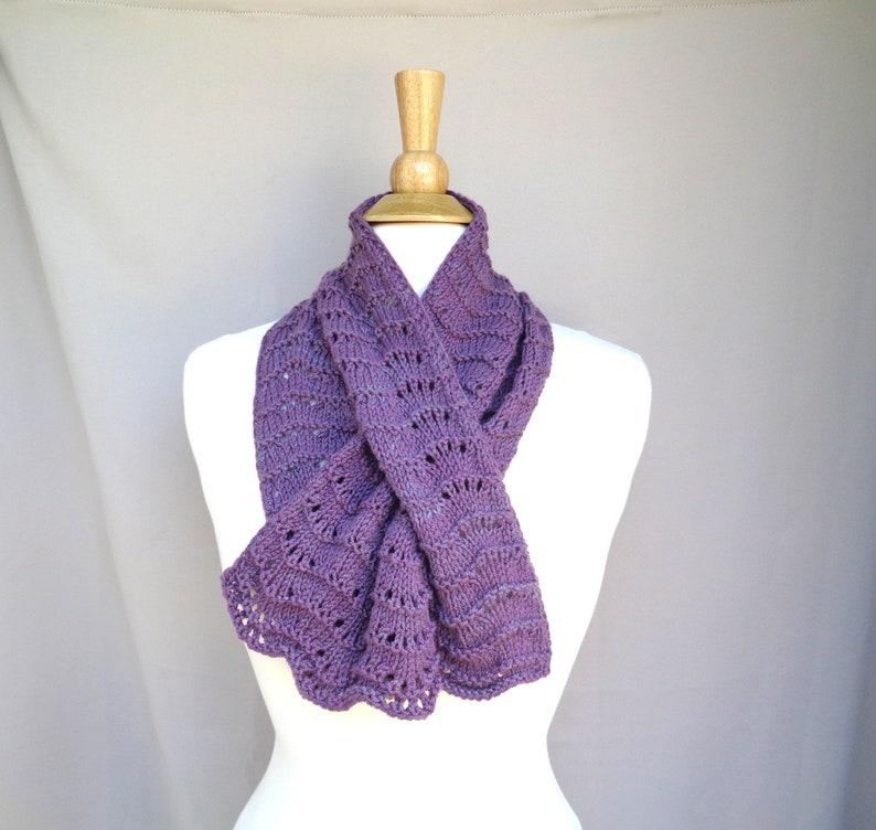 Mauve Purple Keyhole Scarf Merino Wool Cashmere Hand Knit image 0