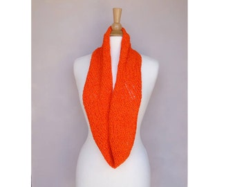 Bright Orange Infinity Cowl Scarf, Hand Knit, Eternity Loop Scarf, Fun Chic Fashion, Women Teen Girls