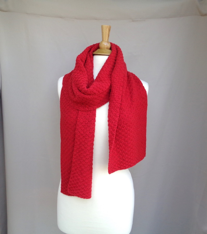 d5c9192e442 Bright Red Scarf for Men or Women Cashmere Merino Wool Long