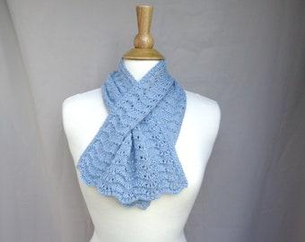 Pale Blue Keyhole Scarf, Alpaca Wool, Pull Through Neck Scarf, Elegant Luxury, Hand Knit, Gift for Mom